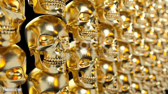 istock Wall of gold textured skulls. Horrible halloween concept. 3d illustration 1185003286