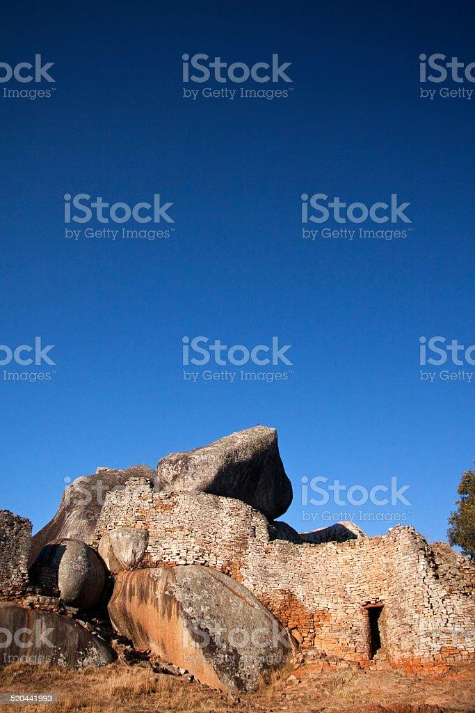 Wall of Great Zimbabwe main enclosure stock photo