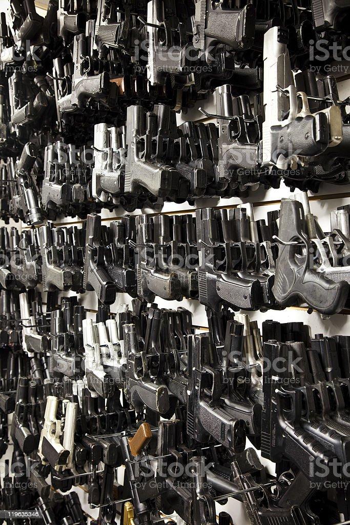 Wall of Guns! stock photo