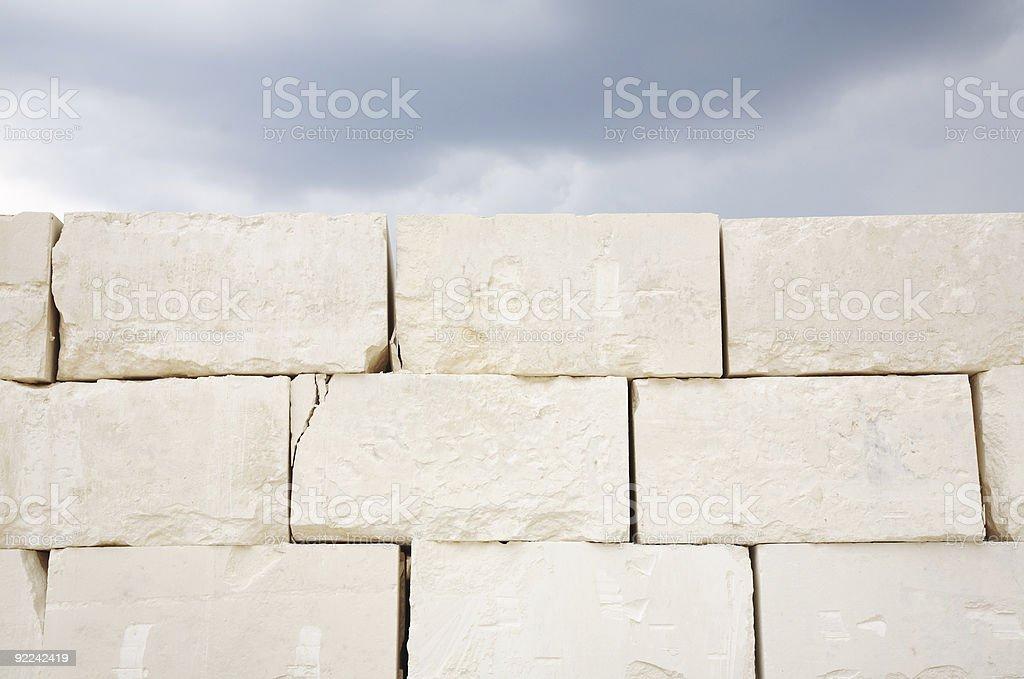 Wall of Huge Limestone Blocks stock photo