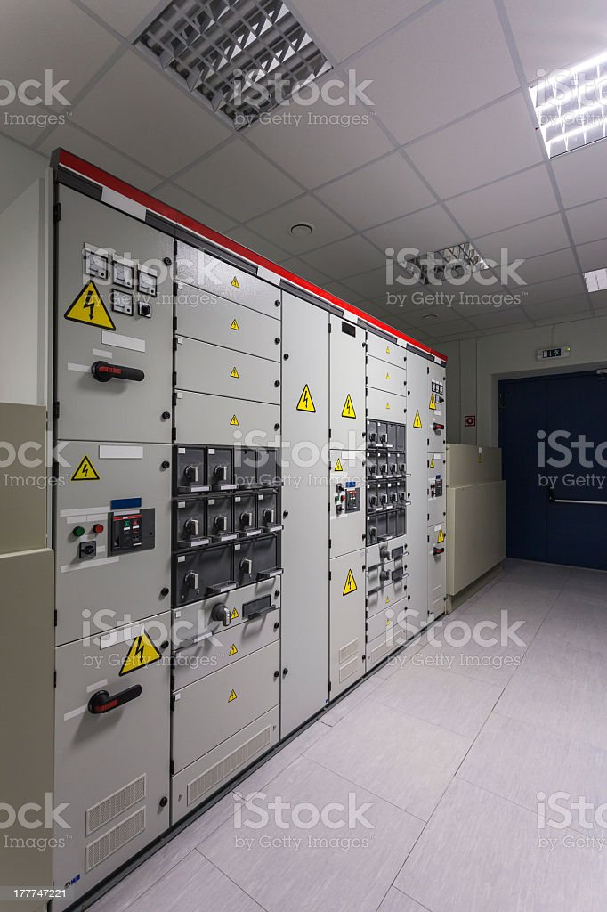 Wall of industrial electrical switch panel royalty-free stock photo
