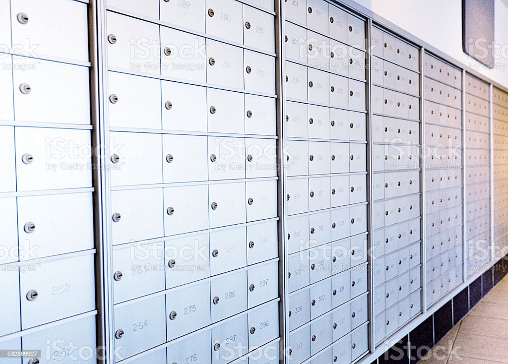 Wall of Mailbox in Apartment Building stock photo