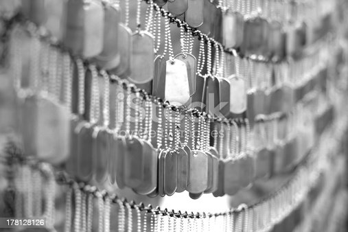Wall of memories with dog tags at the Old North Church, Boston, MA