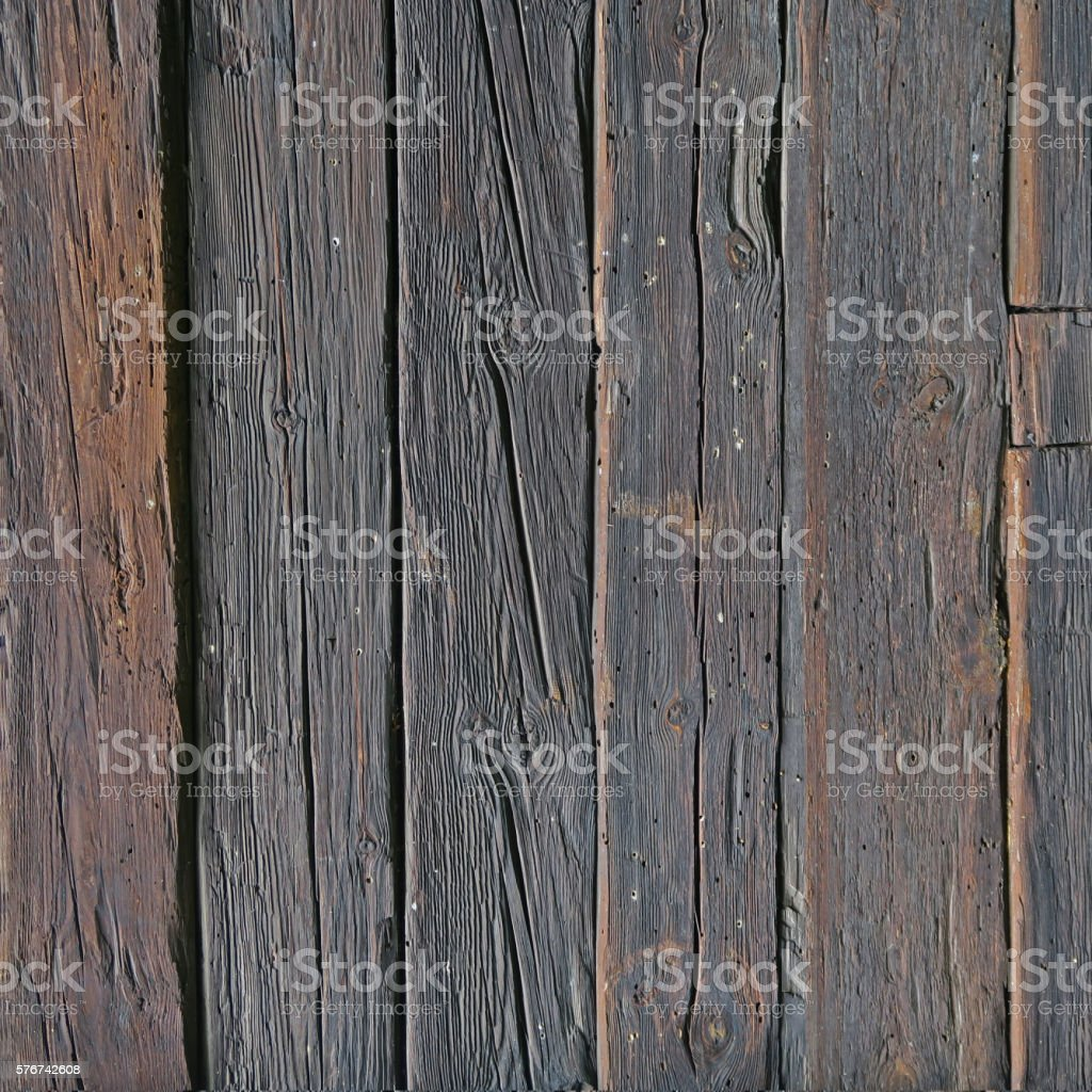Wall of old and weathered oak wood stock photo