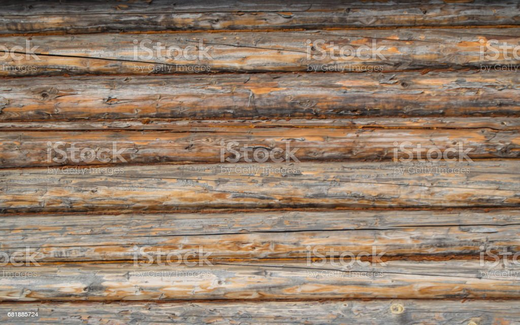 Wall of old logs, macro. Background, texture stock photo