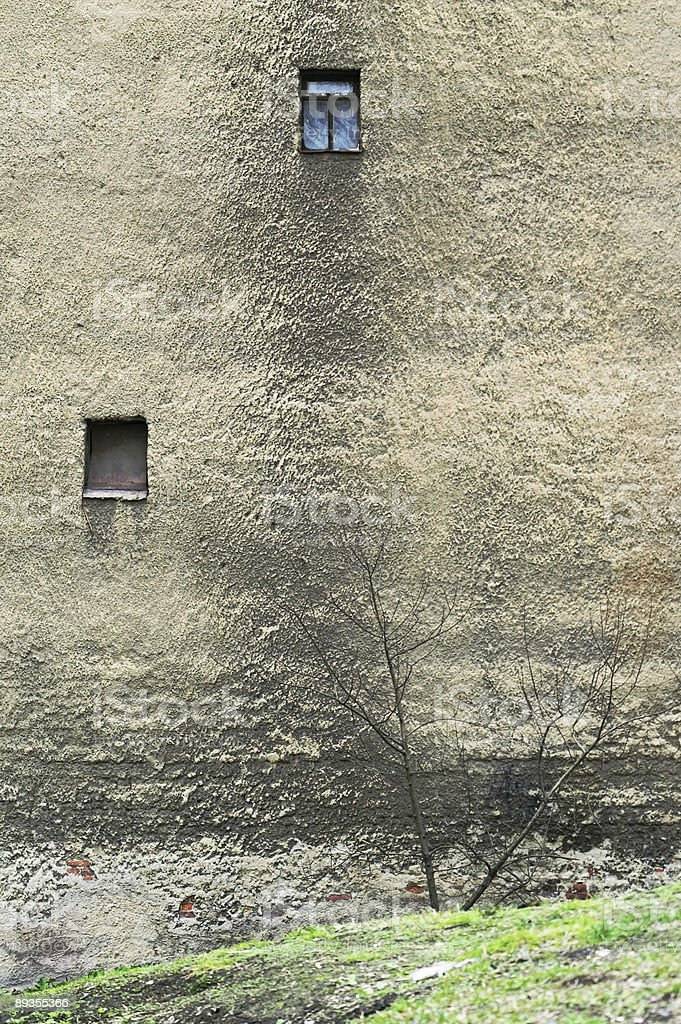 Wall of Old Residential Building stock photo
