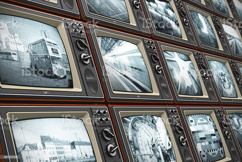 Wall of old TV screens stock photo