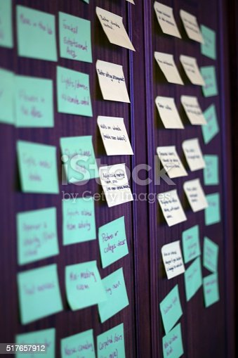istock Wall of post it notes. 517657912