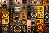 istock Wall of retro vintage style Music sound speakers 1174207130