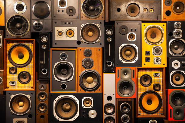 wall of retro vintage style music sound speakers - rock music stock pictures, royalty-free photos & images