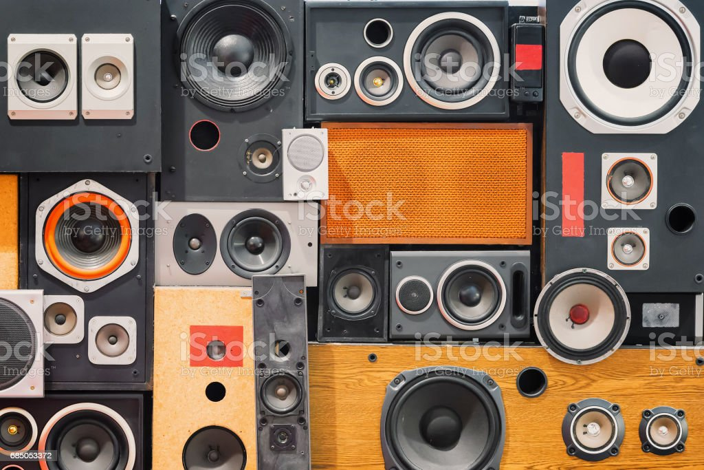 wall of retro vintage style Music sound speakers stock photo