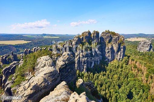 """istock Wall of Rocks called """"Schrammsteine"""" 1282299963"""