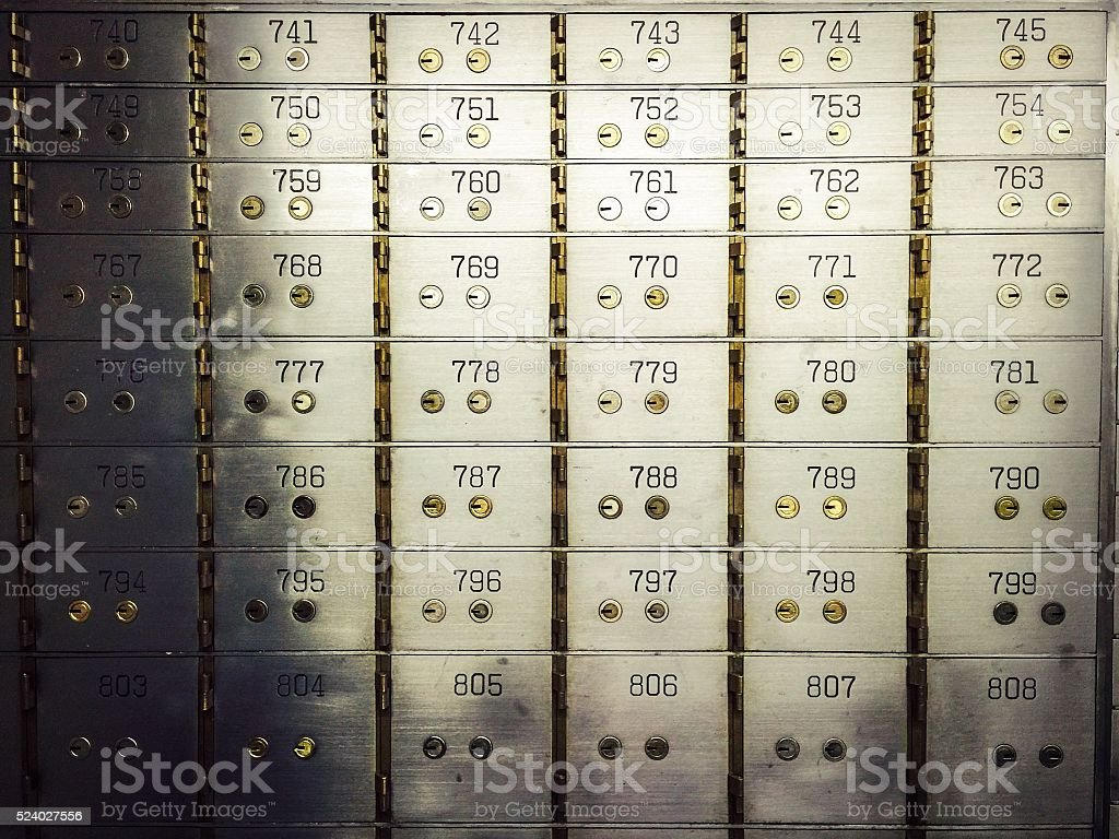 Wall of Safe Deposit Boxes stock photo