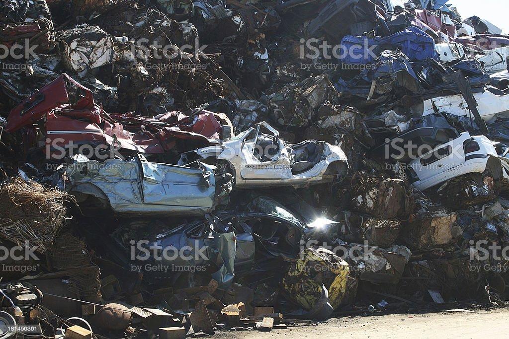 Wall of scrap cars royalty-free stock photo