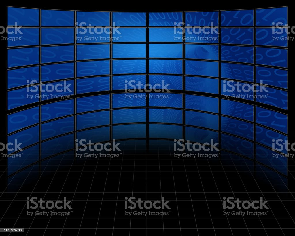 Wall of Screens stock photo