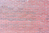 A wall of small red bricks. The texture of the brickwork. Beautiful blank background with space for text.