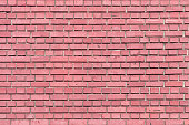 Wall of small red-pink brick. Smooth brickwork. Background for sites and layouts.