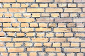 A wall of smooth yellow bricks. Beautiful blank texture background of brickwork.