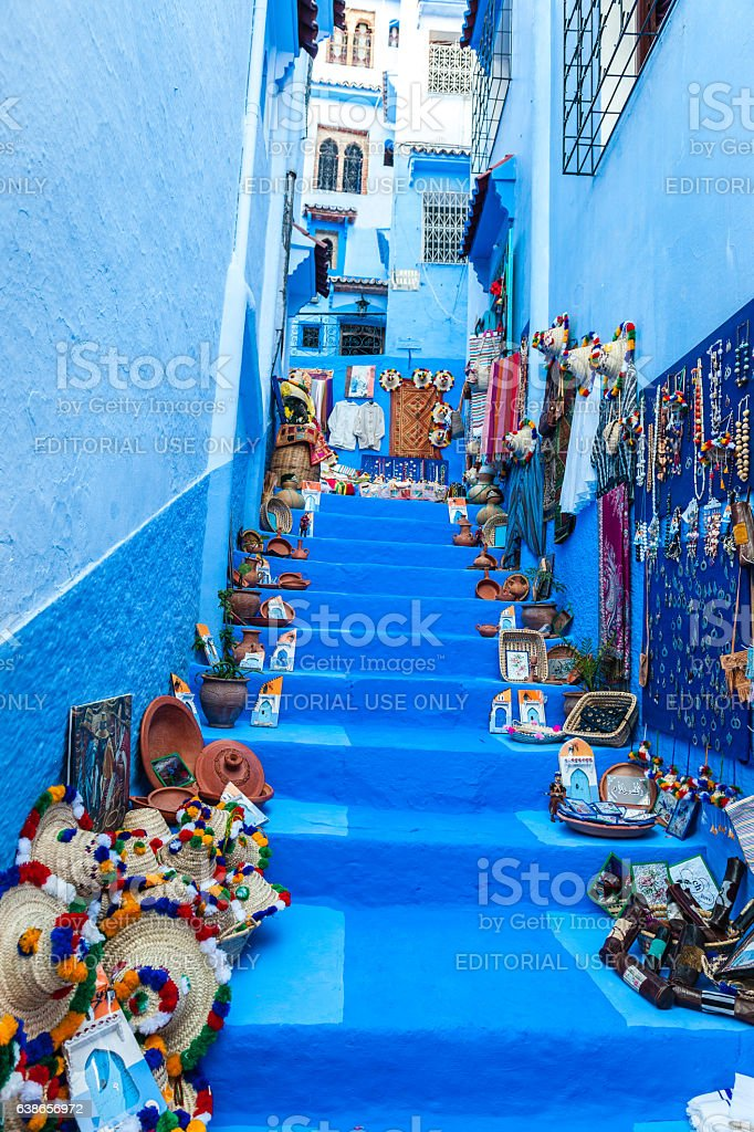 Wall of souvenirs,stairs, street, Chefchaouen,Morocco,North Africa - Photo
