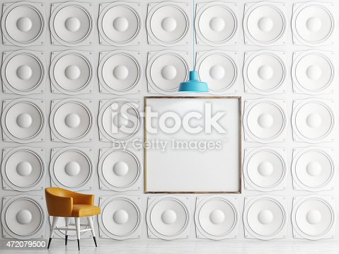 istock Wall of speakers with mock up poster, 3d illustration 472079500