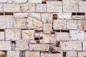 Fragment of the old wall of their beige stone with inclusion of red brick for use as a background.