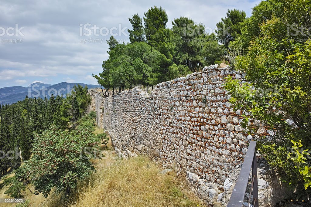 Wall of the castle of Lamia City stock photo