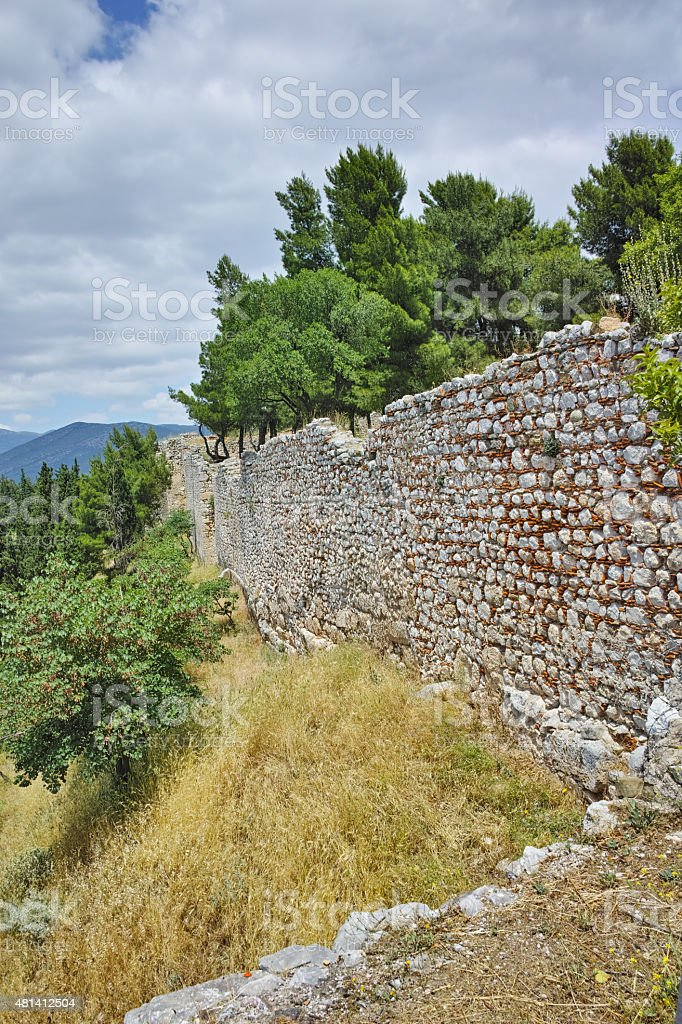 Wall of the castle of Lamia town stock photo