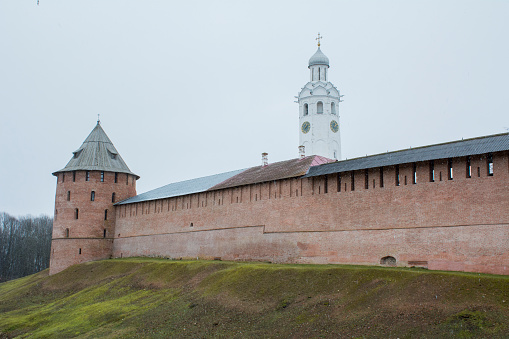 Wall of the Novgorod Kremlin behind the moat, Russia