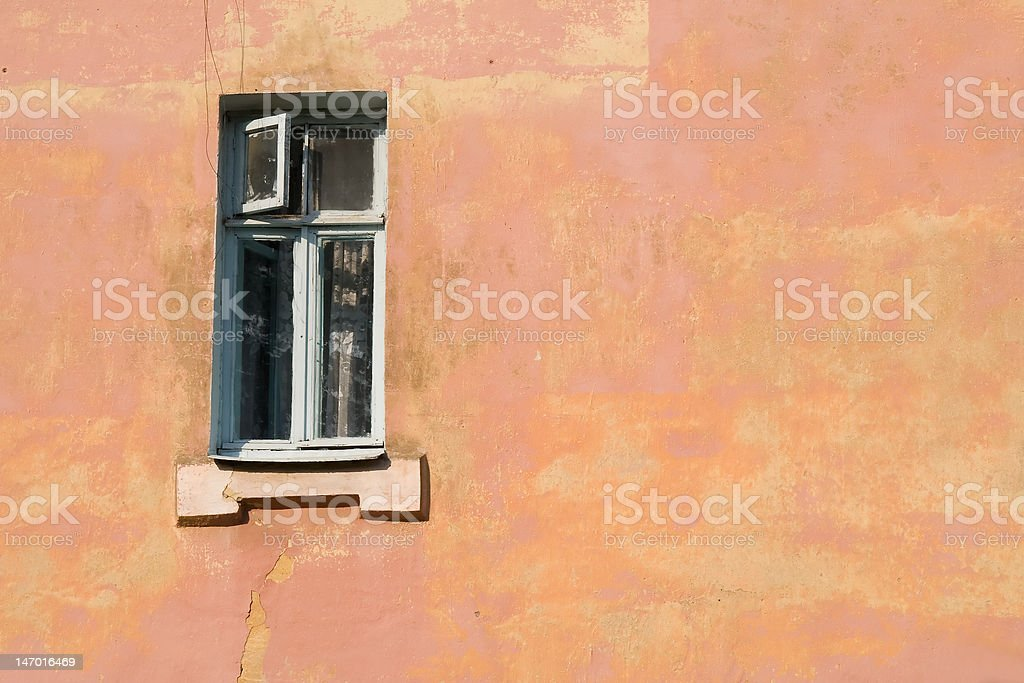 Wall of the old house with window royalty-free stock photo