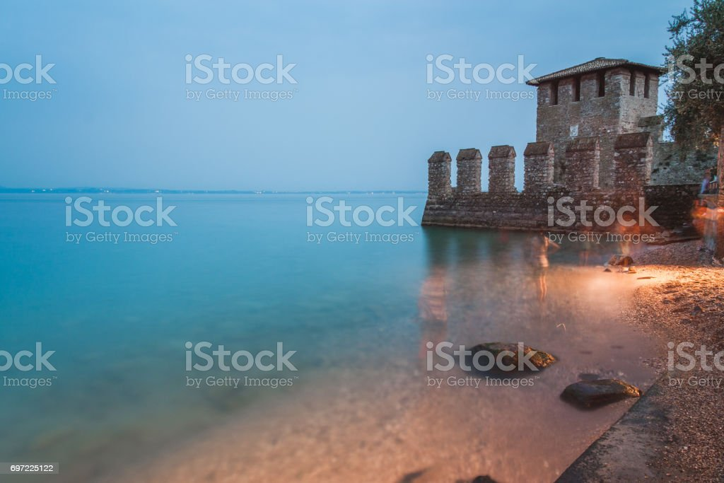 Wall of the Scaliger Castle in Sirmione, on Lake Garda, Italy. stock photo