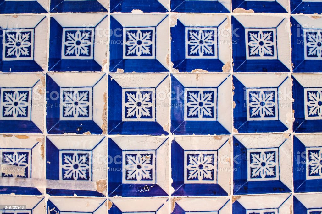 A wall of traditional Portuguese 'azulejo' tiles in Lisbon. stock photo