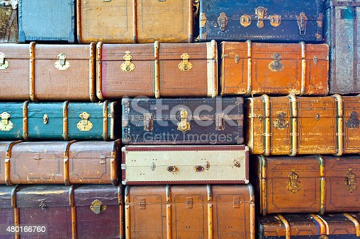 Background made of a lot of travelers  trunks