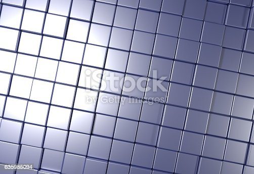 istock wall of uneven tiles brick or cubes, 3d illustration 635985094