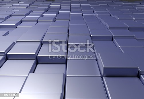 istock wall of uneven tiles brick or cubes, 3d illustration 635990876