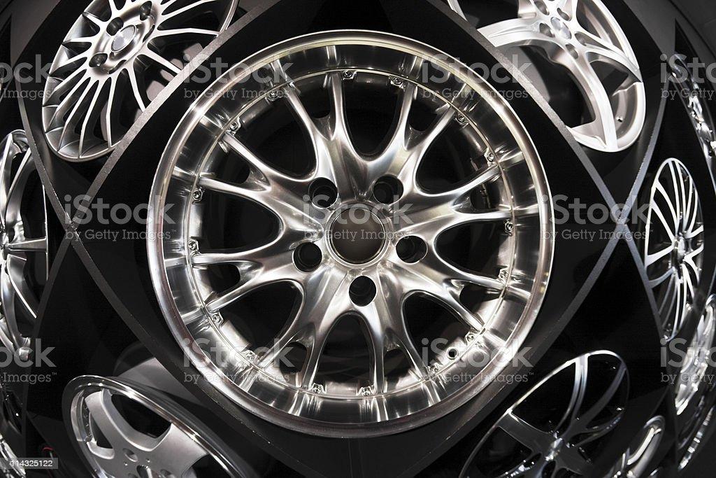 Wall of wheels stock photo
