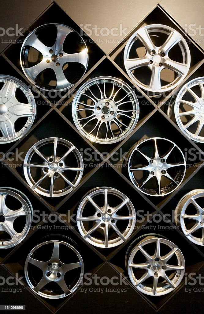 Wall of wheels #2 stock photo