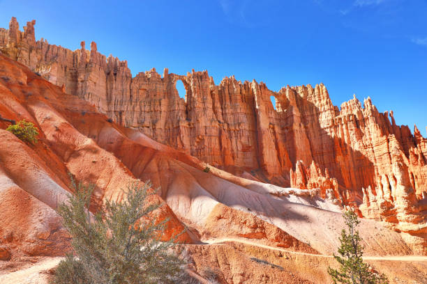 muur van windows. bryce canyon national park. peekaboo trail - bryce canyon national park stockfoto's en -beelden