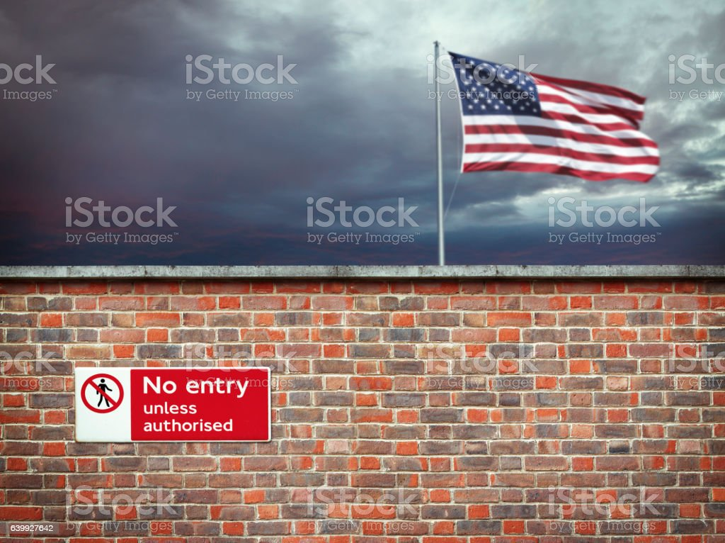 Wall on the border of the USA stock photo