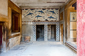 Dolphins wall painting at The Knossos Palace, Heraklion, Crete, Greece