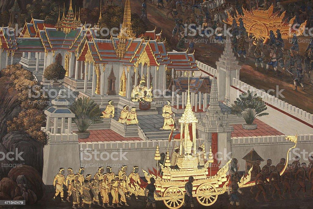 Wall Painting at Wat Phra Kaeo Bangkok, Thailand stock photo