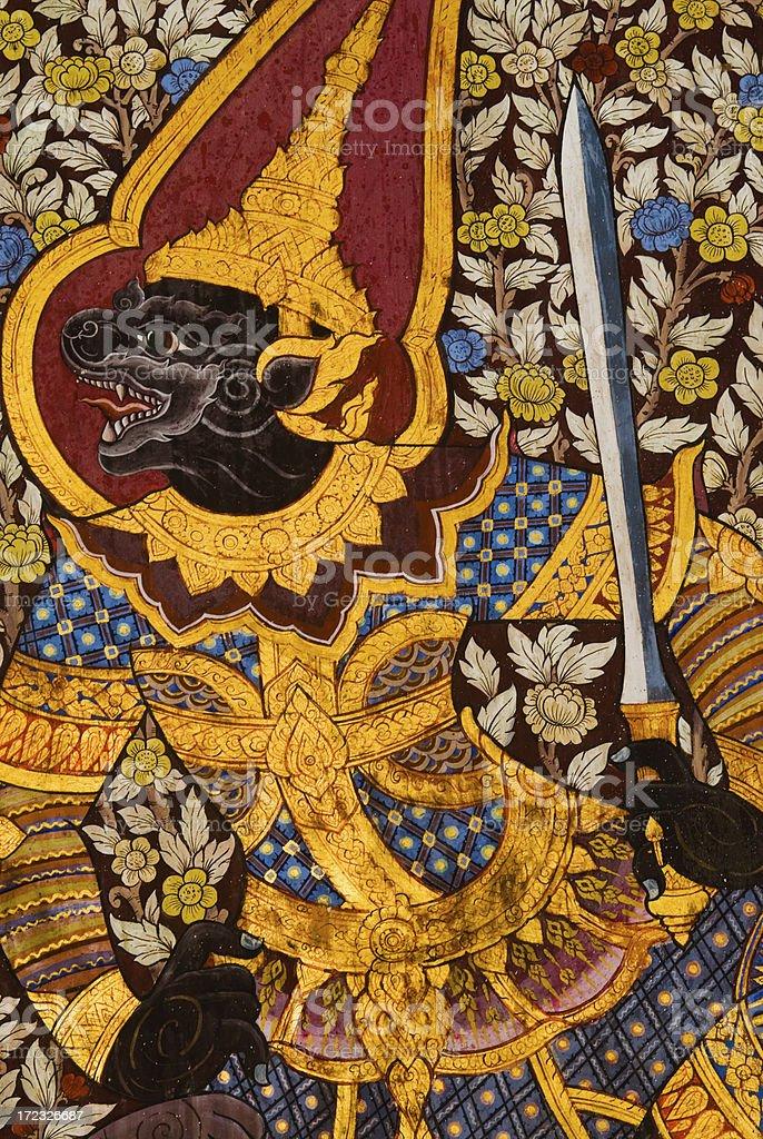Wall Painting at Wat Po royalty-free stock photo
