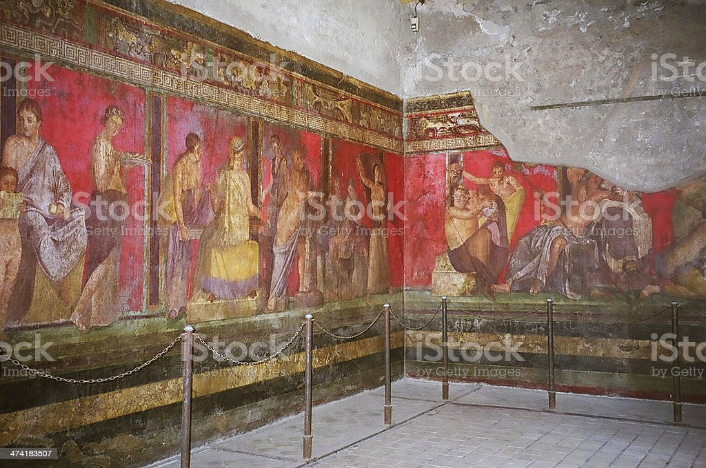 Wall painting in Pompeii, Italy stock photo