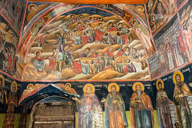 Wall painting inside Orthodox church stock photo