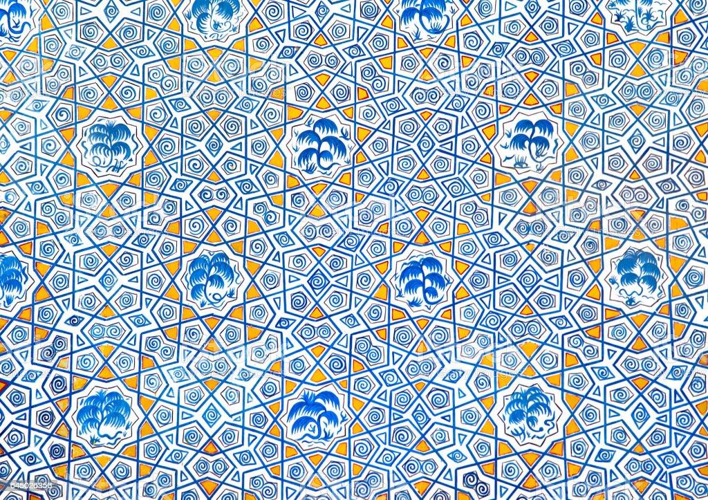 Wall painting of Kok Gumbaz mosque, Uzbekistan stock photo