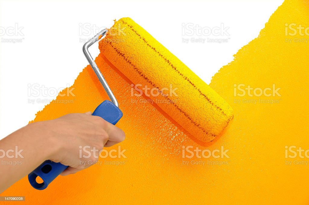 Wall painting - Orange stock photo
