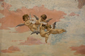 Wall painting at the room of the frescoes in Villa dei Misteri, Pompeii, Italy