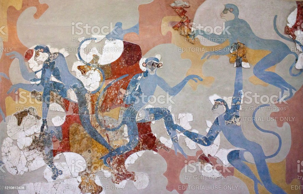 Wall painting with blue monkeys from Minoan Settlement of Akrotiri Thera, Santorini island, Cyclades, Greece - March 4, 2018: Wall painting fresco of Blue Monkeys from Akrotiri Minoan Bronze Age settlement on the volcanic Greek island of Santorini. The Akrotiri site associated with the Minoan civilization. Akrotiri has been excavated since 1967. Akrotiri Stock Photo