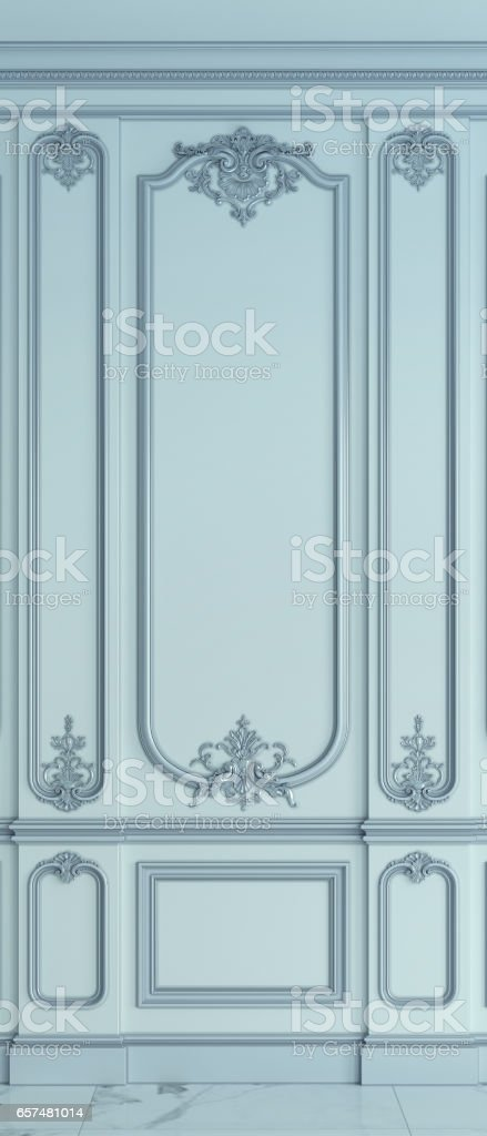 Wall panels in classical style. 3d rendering stock photo