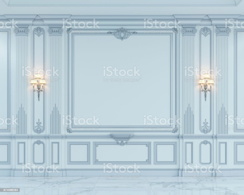 Wall panels in classical style with silvering. 3d rendering stock photo