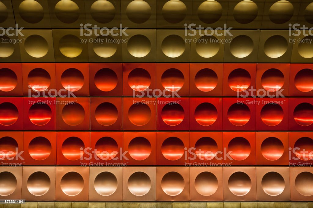 Wall pattern of subway station. Prague, Czech republic. stock photo